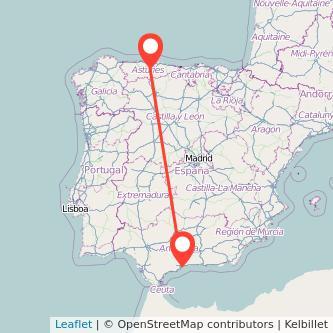 Mapa del viaje Málaga Oviedo en bus