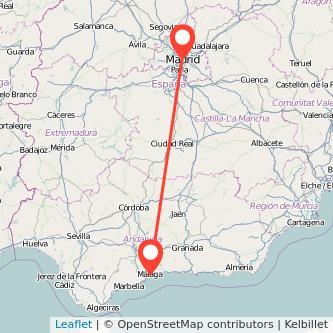 Mapa del viaje Málaga Madrid en bus