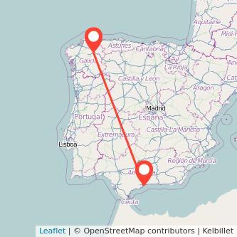Mapa del viaje Málaga Lugo en bus