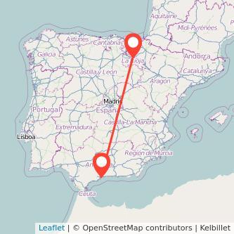 Mapa del viaje Málaga Logroño en bus