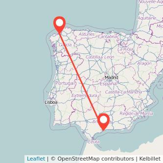 Mapa del viaje Málaga A Coruña en bus