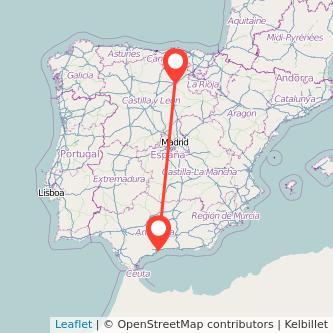 Mapa del viaje Málaga Burgos en bus