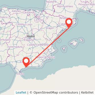 Mapa del viaje Málaga Barcelona en bus