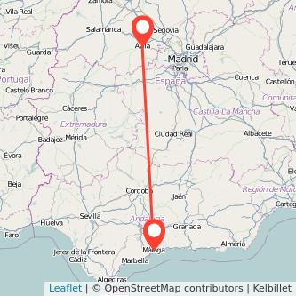 Mapa del viaje Málaga Ávila en bus