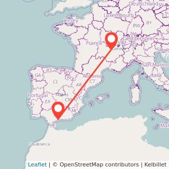 Mapa del viaje Málaga Lyon en bus