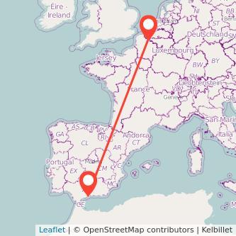 Mapa del viaje Málaga Lille en bus