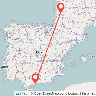 Mapa del viaje Málaga Burdeos en bus