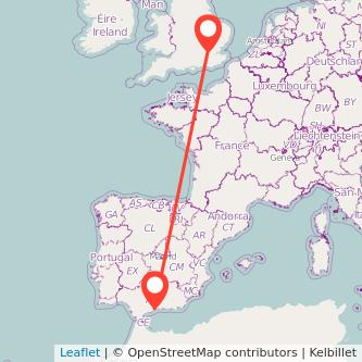 Mapa del viaje Málaga Londres en bus
