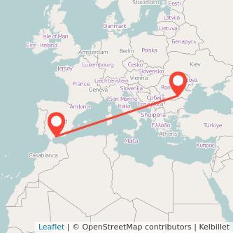 Mapa del viaje Málaga Bucarest en bus