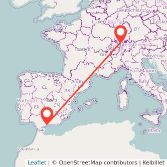 Mapa del viaje Málaga Zúrich en bus