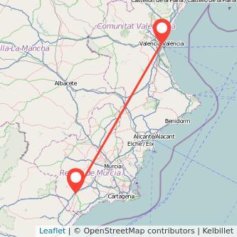 Mapa del viaje Lorca Valencia en bus
