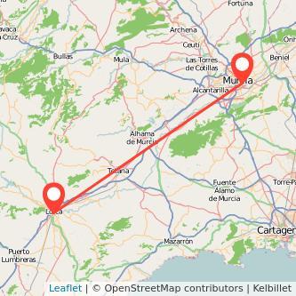 Mapa del viaje Lorca Murcia en bus