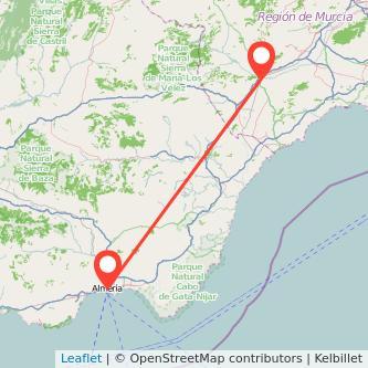 Mapa del viaje Lorca Almería en bus