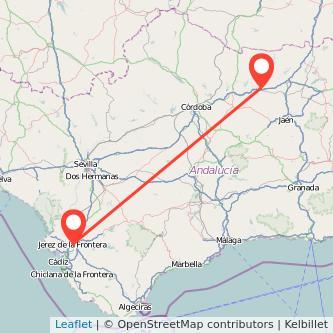 Mapa del viaje Jerez de la Frontera Andújar en bus