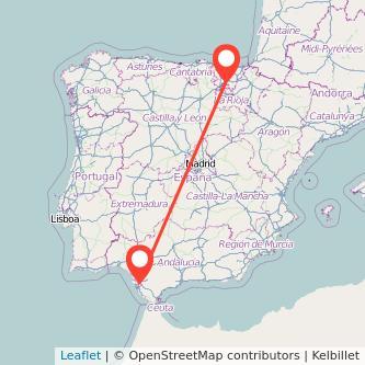 Mapa del viaje Jerez de la Frontera Vitoria-Gasteiz en bus