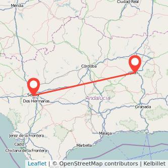 Mapa del viaje Jaén Sevilla en bus