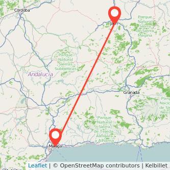 Mapa del viaje Jaén Málaga en bus