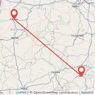 Mapa del viaje Jaén Cáceres en bus