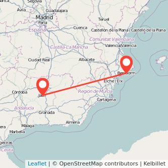 Mapa del viaje Jaén Benidorm en bus