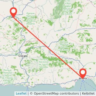 Mapa del viaje Jaén Almería en bus