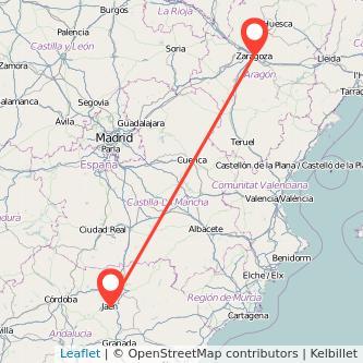 Mapa del viaje Jaén Zaragoza en bus