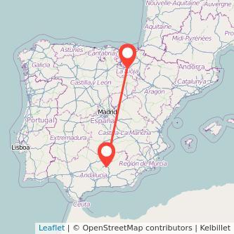 Mapa del viaje Jaén Logroño en bus