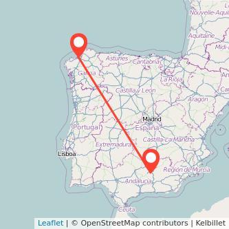 Mapa del viaje Jaén A Coruña en bus