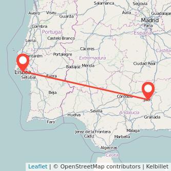 Mapa del viaje Jaén Lisboa en bus