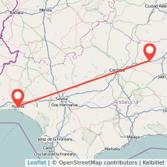 Mapa del viaje Huelva Andújar en bus