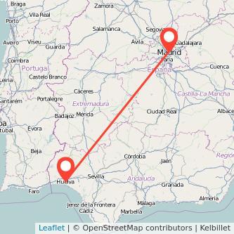 Mapa del viaje Huelva Madrid en tren