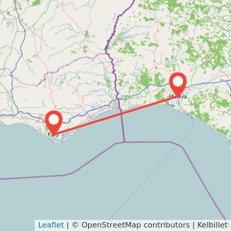 Mapa del viaje Huelva Faro en bus