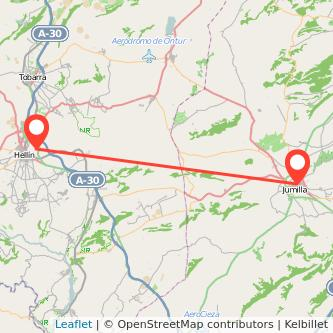 Mapa del viaje Hellín Jumilla en bus