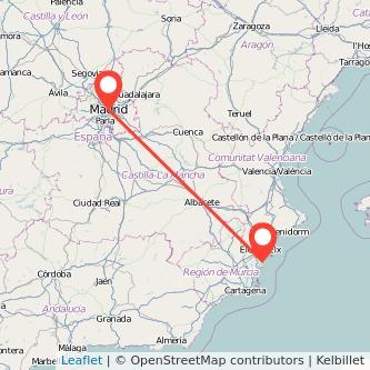 Mapa del viaje Guardamar del Segura Madrid en bus