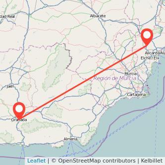 Mapa del viaje Granada Petrer en bus
