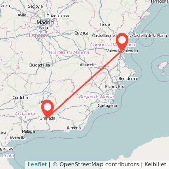 Mapa del viaje Granada Valencia en bus