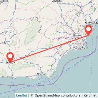 Mapa del viaje Granada Torrevieja en bus