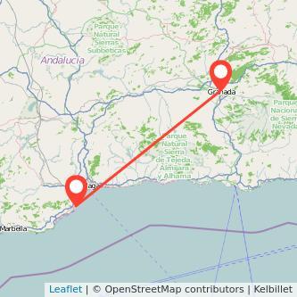 Mapa del viaje Granada Torremolinos en bus