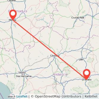 Mapa del viaje Granada Mérida en bus