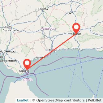 Mapa del viaje Granada La Línea de la Concepción en bus