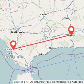 Mapa del viaje Granada Jerez de la Frontera en bus