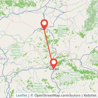Mapa del viaje Granada Jaén en bus