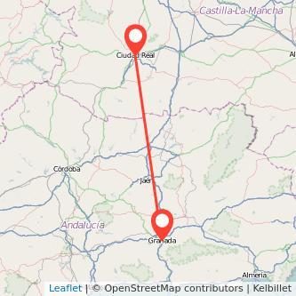 Mapa del viaje Granada Ciudad Real en bus
