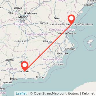 Mapa del viaje Granada Castellón en bus
