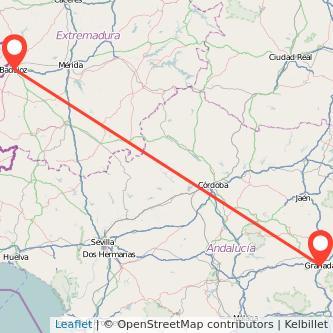 Mapa del viaje Granada Badajoz en bus