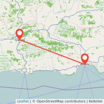 Mapa del viaje Granada Almería en tren