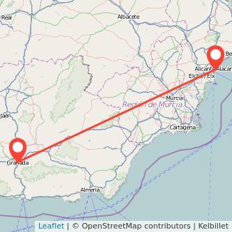 Mapa del viaje Granada Alicante en bus