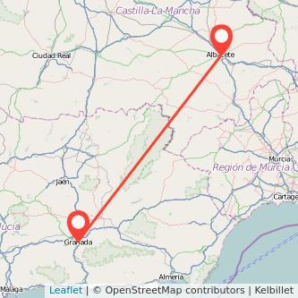 Mapa del viaje Granada Albacete en bus