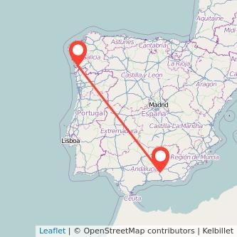 Mapa del viaje Granada Vigo en bus