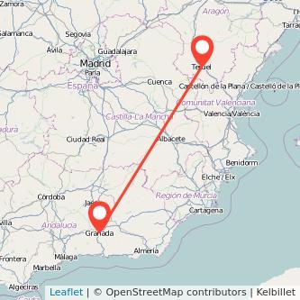 Mapa del viaje Granada Teruel en bus