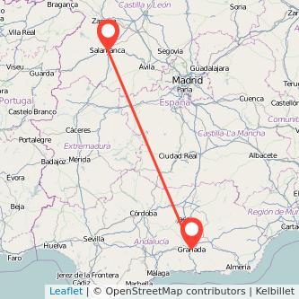 Mapa del viaje Granada Salamanca en bus